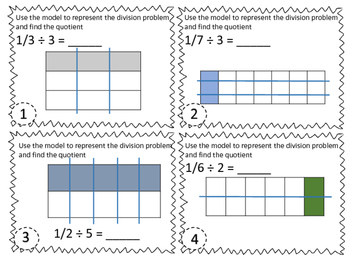 Dividing Unit Fractions by Whole Numbers Task Cards TEK 5.3J & CCSS 5.NF.B.7a
