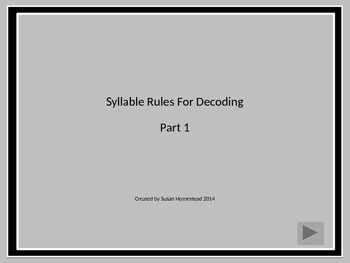 Dividing Words Into Syllables ~Power Point Lesson 1~