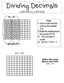 Dividing a Decimal By a Decimal Notebooking Page