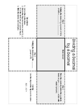 Dividing a Decimal by a Decimal Foldable