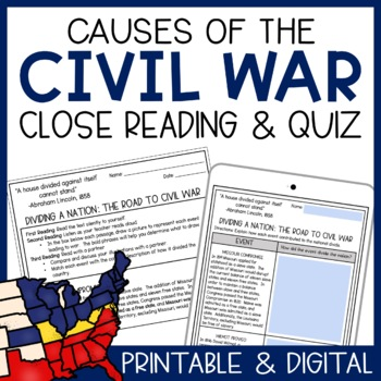 Dividing a Nation: The Road to Civil War Close Reading & Assessment