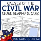 Causes of the Civil War Close Reading & Assessment