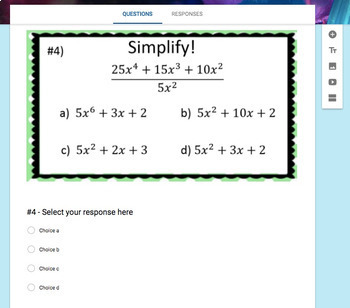 Dividing a Polynomial by a Monomial (Google Form, Video Lesson & Notes!)