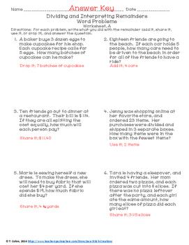 Dividing and Interpreting Remainders Worksheets