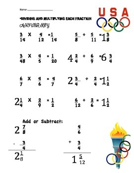 Dividing and Multiplying Fractions