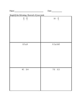 Dividing and Multiplying Fractions and Decimals
