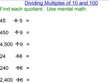 Dividing by 1 Digit Divisors Topic 4 Envisions Pearson Smartboard Lesson