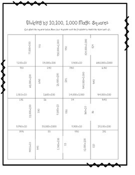Dividing by 10, 100, 1000 Magic Squares