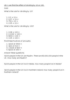 Dividing by 10 or 100