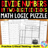 Dividing by 2 Digit Numbers {5.NBT.6} Math Logic Puzzle