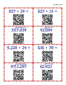 Dividing by 2-Digit Whole Numbers - Build a Straw Cube QR Challenge
