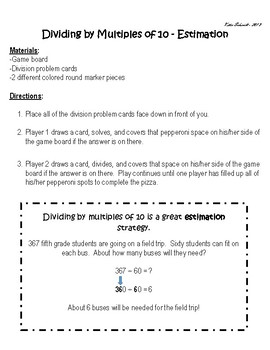 Dividing by Multiples of 10 (Estimation) - Pizza Fun