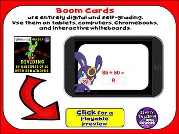 Dividing by Multiples of 10 with Remainders Digital Boom Cards Eureka Module 2