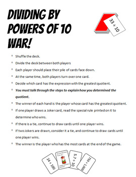 Dividing by Powers of 10 Math War Card Game