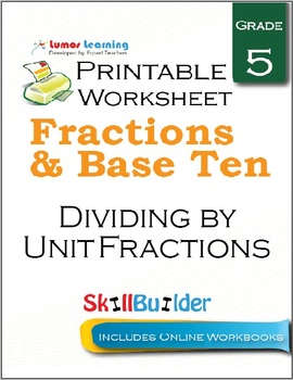 Dividing by Unit Fractions Printable Worksheet, Grade 5