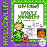 Dividing by Whole Numbers (2-Digit Divisors): Color by Number-Halloween Theme