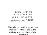 Dividing decimals by 10, 100, and 1,000