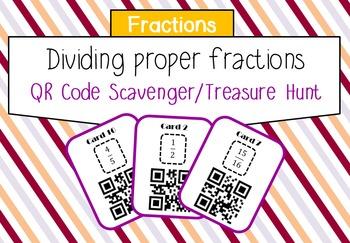 Dividing fractions (proper) QR scavenger hunt