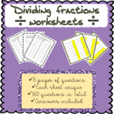 Dividing fractions worksheets (160 questions!)