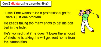 Dividing on a numberline using golf