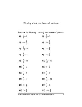 Dividing whole numbers and fractions