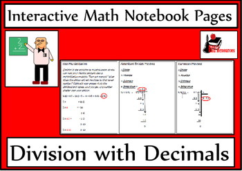 Division with Decimals Lesson for Interactive Math Notebooks