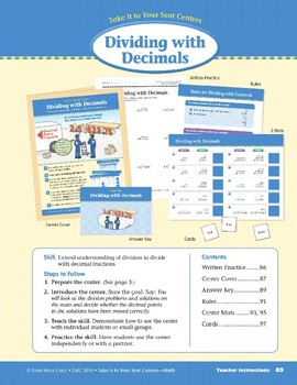 Dividing with Decimals (Take It to Your Seat Centers Common Core Math)