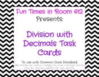 Dividing with Decimals Task Cards for Sixth Grade