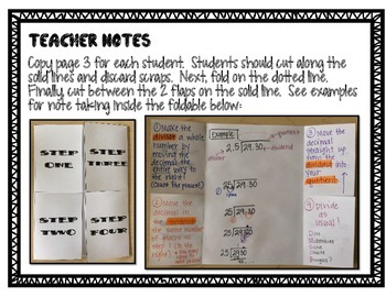 Dividing with Decimals in the Divisor Interactive Math Foldable