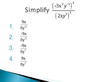 Dividing with Exponents Multiple Choice Quiz PowerPoint