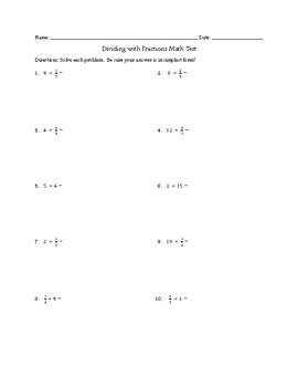 Dividing with Fractions Math Test