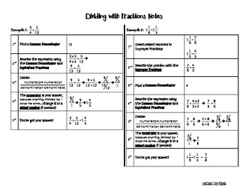 Dividing with Fractions (using a common denominator)