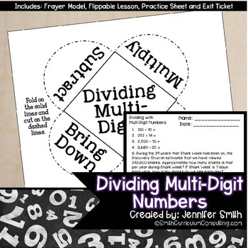Dividing Multiple Digit Numbers for Interactive Notebooks | Divide Whole Numbers