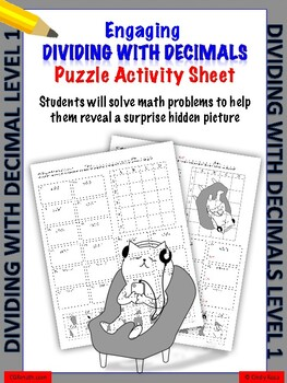 Dividing with decimals puzzle worksheet (Level 1)
