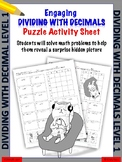 Dividing with decimals puzzle worksheet (Level 1)