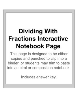 Dividing with fractions interactive notebook page