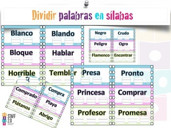 Dividir Silabas Palabras Trabadas(Grupos consonáticos). K-2nd.Centro Escritura