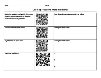 Dividng Fractions QR Code Activity