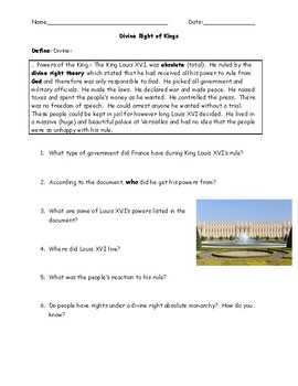 Divine Right of Kings/Absolute Monarchy Reading and Question Worksheet with Key