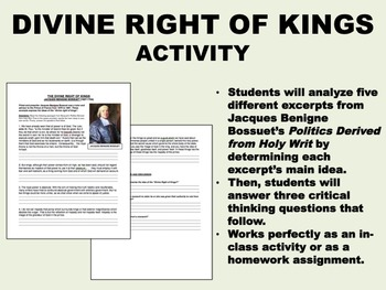 Divine Rights of Kings activity - Absolutism - Global/Worl