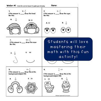 Winter Fraction Activities Math Art