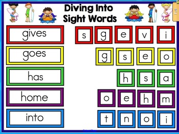 Diving Into Sight Words - Sight Word Mix Ups for Smartboard - 100 Pack