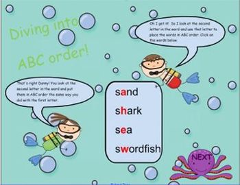 Diving into ABC Order SMART board lesson (CC L.2.2e, L.2.4e, L.3.2g, L.3.4d)