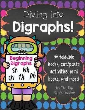 Diving into Digraphs!Beginning Digraphs NO PREP WORKSHEETS