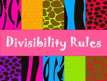 Divisbility Rules Posters for the Classroom