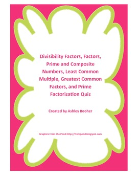 Divisibility, Factors, Multiples, Prime and Composite, Fac