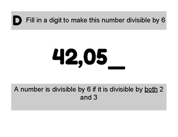 Divisibility Fill-in-the-blanks