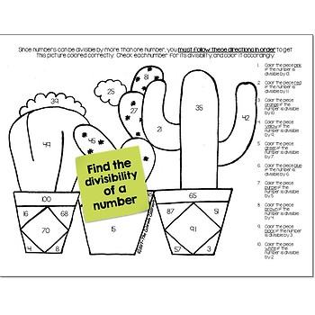 Divisibility Math Practice Cactus Color by Number