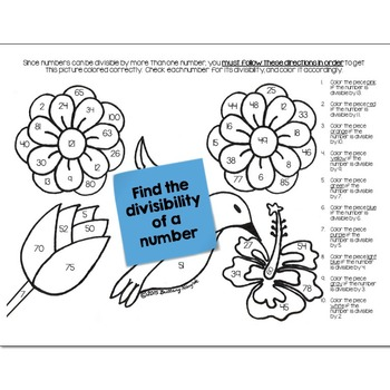 Divisibility Math Practice May Flowers Color by Number