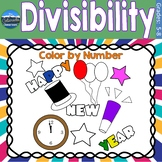 Divisibility Math Practice   New Years Color by Number